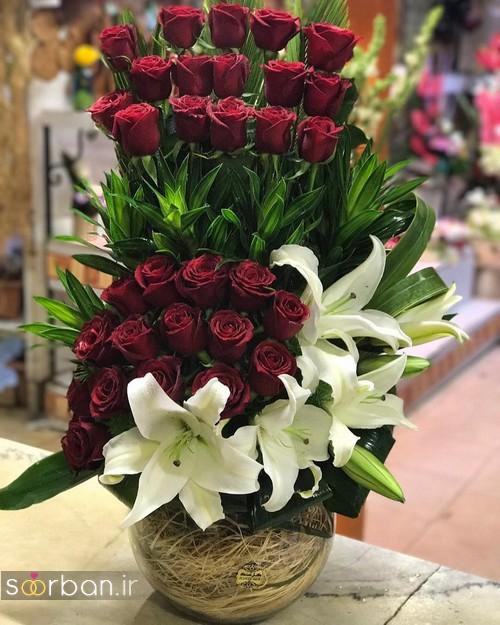 سبد گل خواستگاری شیک و جدید با گل رز قرمز و لیلیم