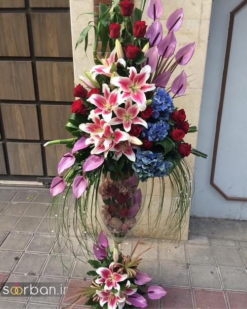 عکس مدل سبد گل خواستگاری حاص با لیلیم و شیپوری و رز