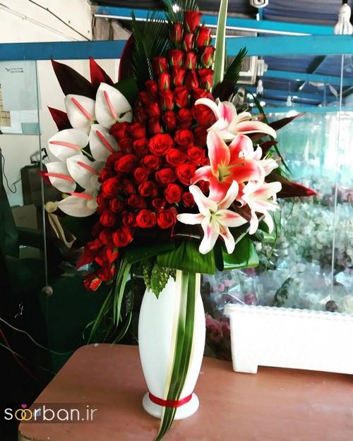 سبد گل خواستگاری شیک با رز قرمز و لیلیم و شیپوری