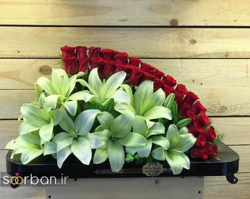 سبد گل خواستگاری شیک با لیلیم و رز قرمز