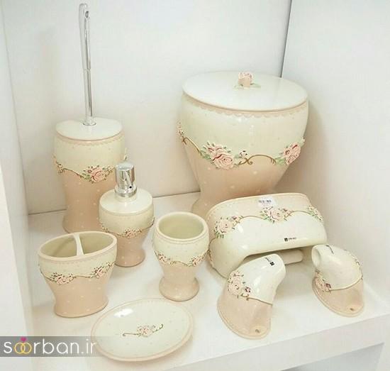 ست سرویس بهداشتی سرامیکی عروس جامیع و سطل آشغال دستشویی-3