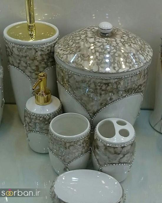 ست سرویس بهداشتی سرامیکی عروس جامیع و سطل آشغال دستشویی-5