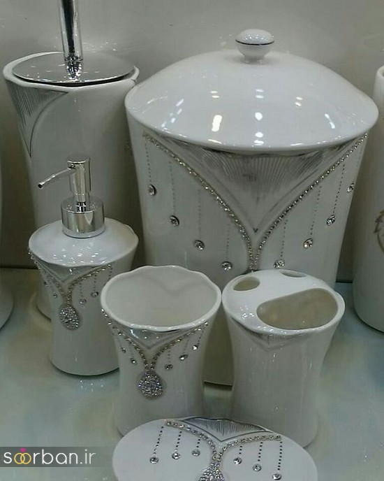 ست سرویس بهداشتی سرامیکی عروس جامیع و سطل آشغال دستشویی-6
