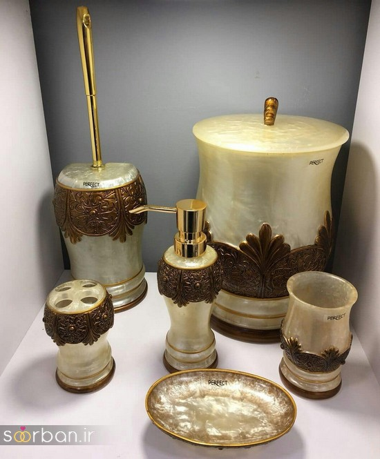 ست سرویس بهداشتی سرامیکی عروس جامیع و سطل آشغال دستشویی-17