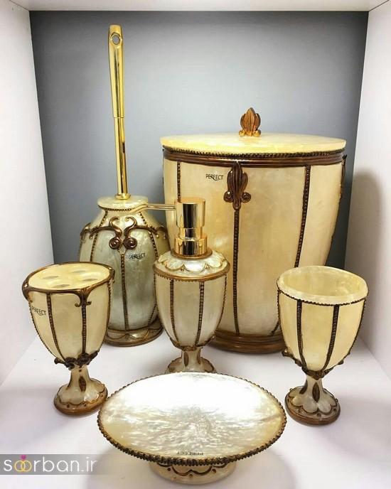 ست سرویس بهداشتی سرامیکی عروس جامیع و سطل آشغال دستشویی-16