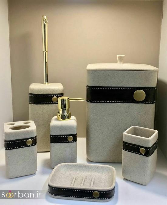 ست سرویس بهداشتی سرامیکی عروس جامیع و سطل آشغال دستشویی-20