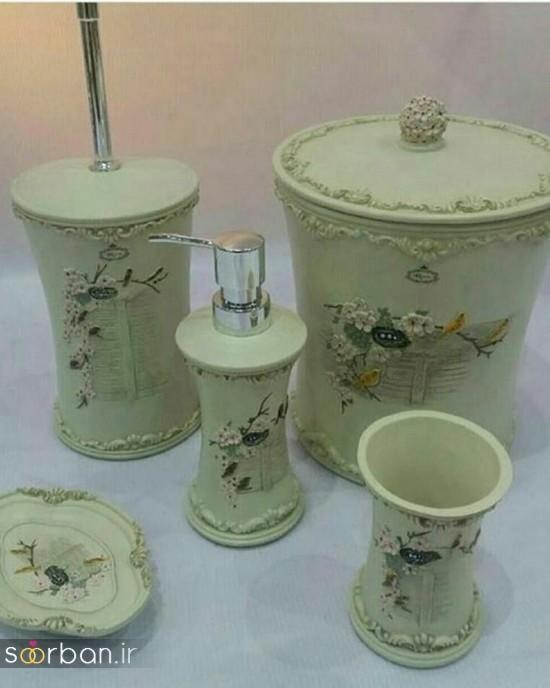ست سرویس بهداشتی سرامیکی عروس جامیع و سطل آشغال دستشویی-23