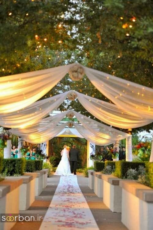 تزیین ژورنالی ورودی باغ تالار عروسی بسیار زیبا