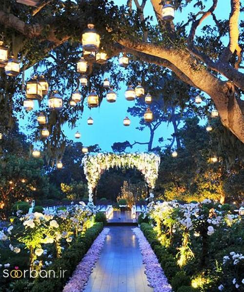 تزیین ژورنالی ورودی باغ تالار عروسی با چراغ