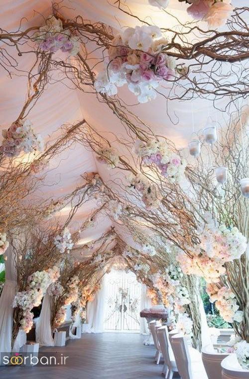 تزیین ژورنالی ورودی باغ تالار عروسی با شاخه های خشک