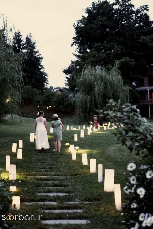 تزیین ژورنالی ورودی باغ تالار عروسی با لامپ