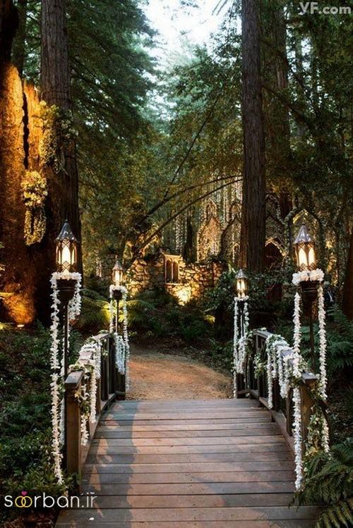 عکس مدل تزیین ژورنالی ورودی باغ تالار عروسی