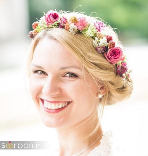 تاج عروس زیبا با گل های طبیعی و مصنوعی1