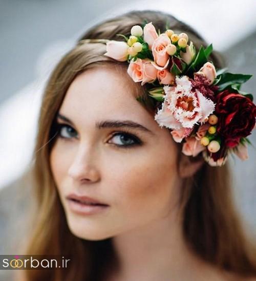 تاج عروس زیبا با گل های طبیعی و مصنوعی