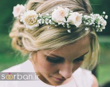 تاج عروس زیبا با گل های طبیعی و مصنوعی6