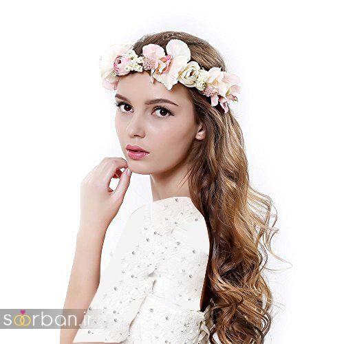تاج عروس زیبا با گل های طبیعی و مصنوعی8