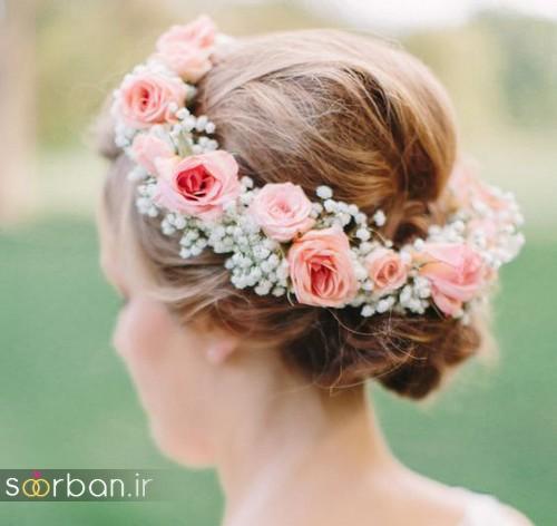 تاج عروس زیبا با گل های طبیعی و مصنوعی10