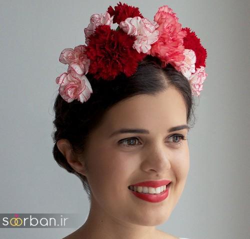 تاج عروس زیبا با گل های طبیعی و مصنوعی11