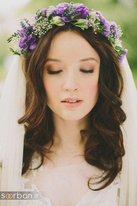 تاج عروس زیبا با گل های طبیعی و مصنوعی13