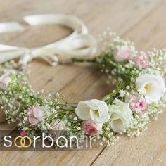 تاج عروس زیبا با گل های طبیعی و مصنوعی با کمربند پاپیون