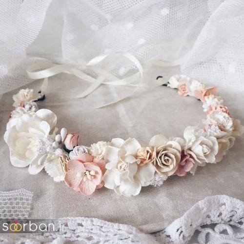 تاج عروس زیبا با گل های طبیعی و مصنوعی15