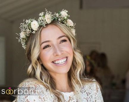تاج عروس زیبا با گل های طبیعی و مصنوعی16