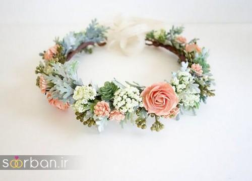 تاج عروس زیبا با گل های طبیعی و مصنوعی18