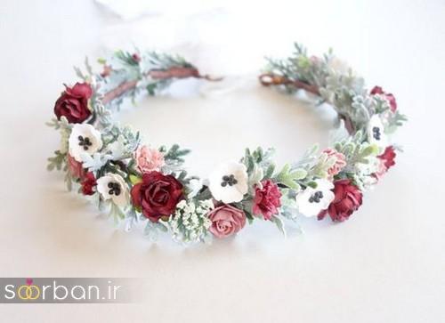تاج عروس زیبا با گل های طبیعی و مصنوعی19