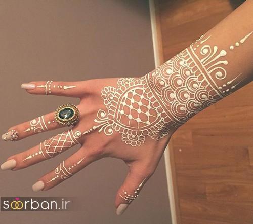 تتو موقت با حنا سفید روی پوست دست بسیار زیبا
