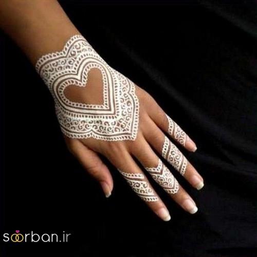 طراحی شیک با حنا سفید روی پوست عروس به شکل قلب