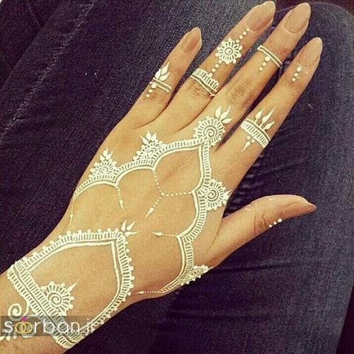 طراحی شیک با حنا سفید روی پوست خوشگل