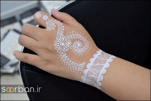 طراحی شیک با حنا سفید روی پوست  2017