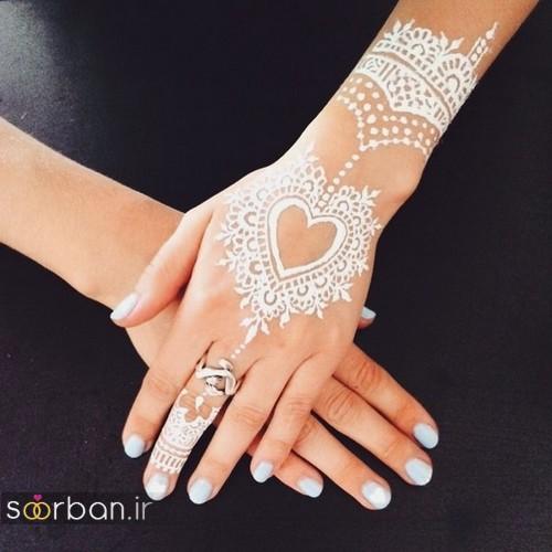 عکس طراحی حنا سفید عروس به شکل قلب