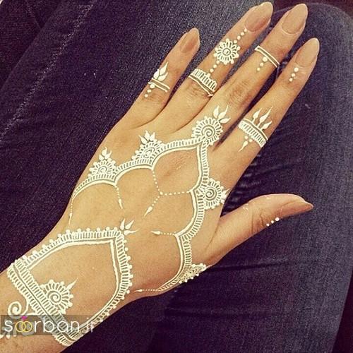 طراحی شیک با حنا سفید روی پوست
