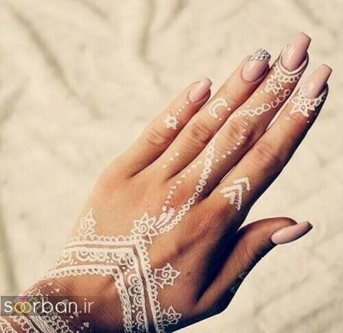 عکس طراحی شیک با حنا سفید روی پوست