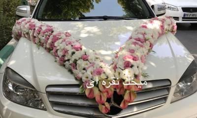 تزیین ماشین عروس میخک نقره ای تهران