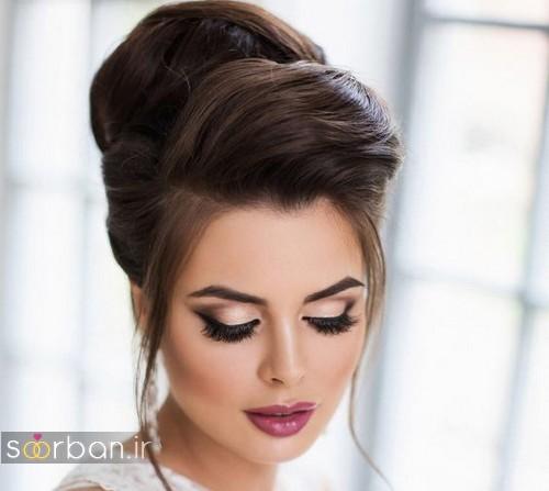 مدل آرایش عروس به سبک اروپایی 2017 با مژه مصنوعی و سایه دودی