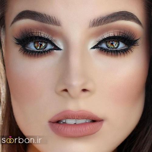 مدل آرایش عروس به سبک اروپایی شیک و مدرن  آرایش چشم با لنز