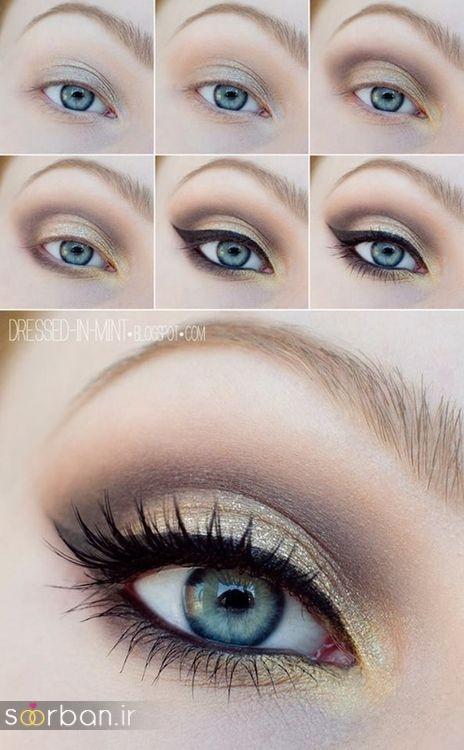 آموزش گام به گام زیباترین مدل های آرایش و سایه چشم مجلسی و عروس-20
