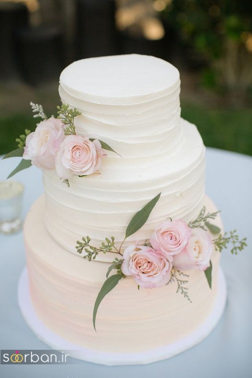images of wedding cakes decorated with fresh flowers تزیین کیک عروسی با گل رز 16371