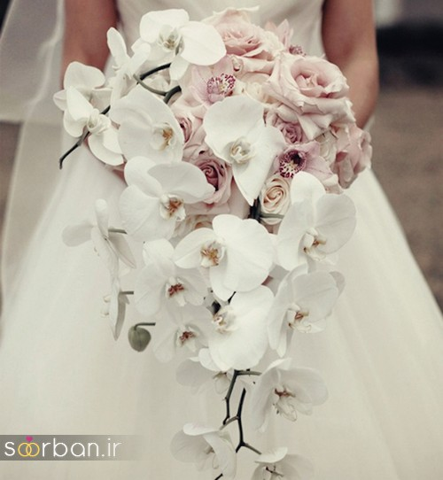 دسته گل عروس آبشاری زیبا و جدید
