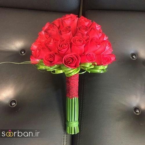 دسته گل عروس جدید ایرانی 96 با گل رز قرمز