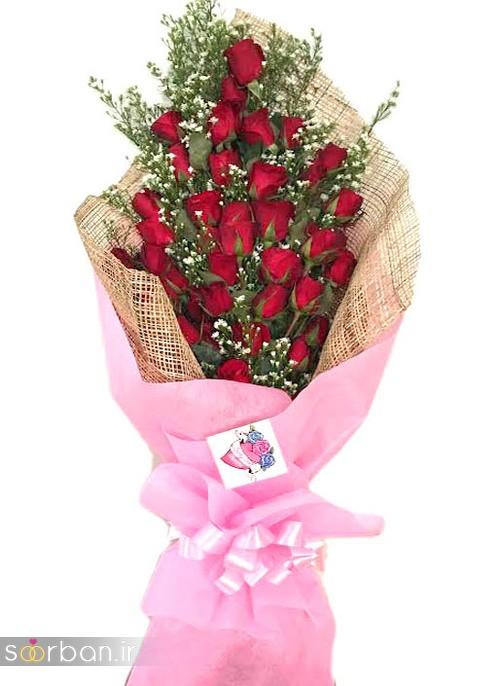 مدل دسته گل رز قرمز جدید-12