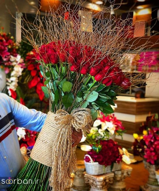 مدل دسته گل رز قرمز جدید-15