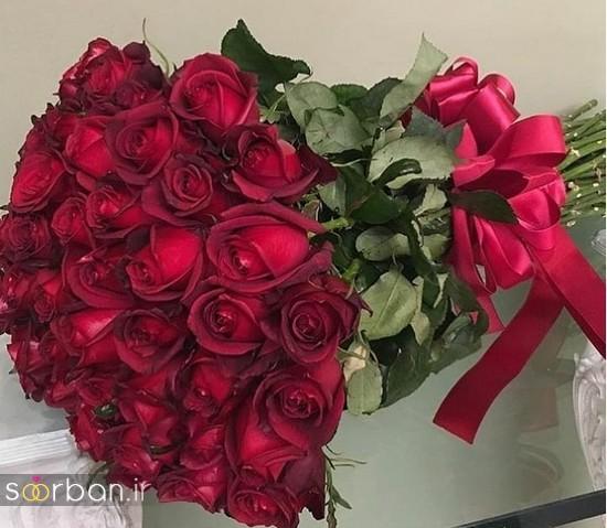 مدل دسته گل رز قرمز جدید-18