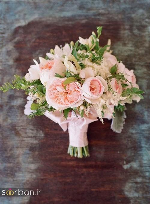 دسته گل عروس 2017 زیبا و رومانتیک صورتی