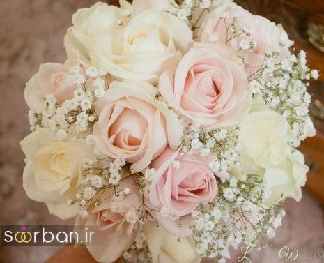 دسته گل عروس 2017 زیبا و رومانتیک با رز سفید و صورتی