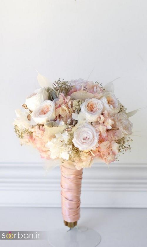 دسته گل عروس 2017 زیبا و رومانتیک با روبان