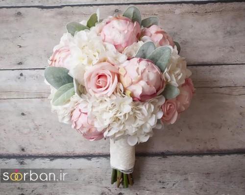 دسته گل عروس 2017 زیبا و رومانتیک با رنگ های ملیح