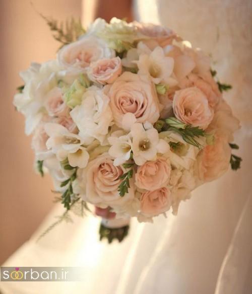 دسته گل عروس 2017 زیبا و رومانتیک با گل سفید و صورتی
